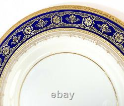 10 Minton England Porcelain Cobalt Blue & Gilt Dinner Plates, circa 1930