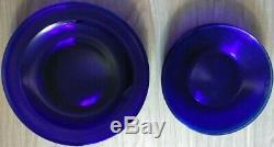 10 Vtg Hazel Atlas Depression Glass Moderntone Cobalt Blue Dinner/Salads Plates