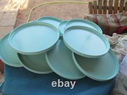 10 Vtg Heller Design Massimo Vignelli MCM Teal Blue Dinner Plates Melmac 10