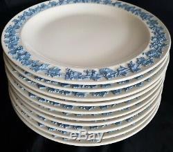 (10) Wedgwood Queensware Embossed Blue Lavender On Cream Dinner Plates 9 1/4