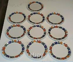 10x 10 Dinner Plate set ACAPULCO Villeroy & Boch Blue Mark Luxembourg Vintage