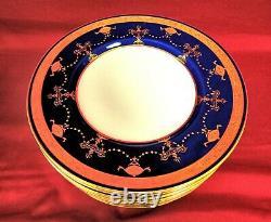 11 Minton Gold Encrusted Cobalt Blue 9 Plates MINT