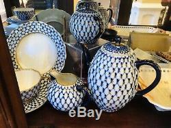 11 Scallop Edg Dinner PLATE Lomonosov Imperial Russian Porcelain Cobalt Net LFZ