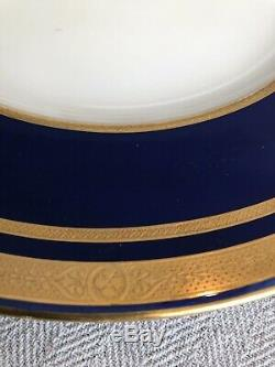 12 Antique Minton Bone China For Tiffany & Co Gold Encrusted Cobalt Blue Plates