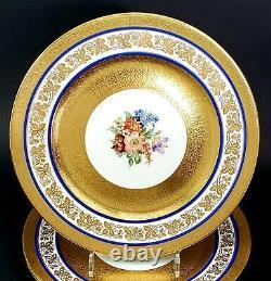 12 Cauldon Porcelain Cobalt Blue Heavy Gold Encrusted Floral Dinner Plates