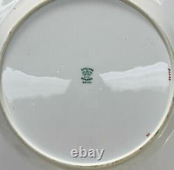 12 Coalport England Hand Painted Porcelain Scalloped Dinner Plates, circa 1900