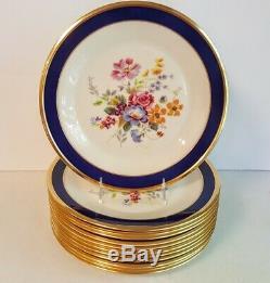 12 Cobalt Blue & Gold Floral Centers Lenox Special Service Or Dinner Plates