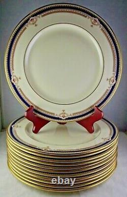 12 Lenox Buchanan Dinner Plates U. S. A. China Cobalt & Tan Scrolls Presidential
