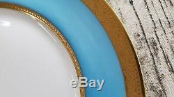 12 Lovely Haviland Limoges Jesse Dean 1865 Cerulean Blue/Gold encrusted Plates