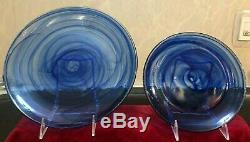 12 Pcs Set Cobalt Blue Artistic Accents Swirl Dinner Salad Plate Bowls Glass New