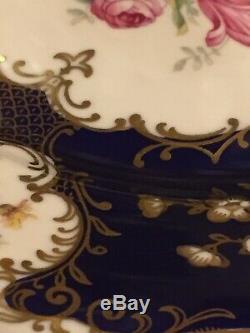 12 Rare Vintage Cobalt Blue Floral Gold Filigree Dinner Plates Czechoslovakia