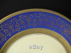 12 Rosenthal Pickard M1- 15 Gold Encrusted Cobalt Blue Floral Dinner 11 Plates
