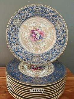 12 Royal Worcester Blue Turquoise H. Painted 10.75 Dinner Plates E Phillips
