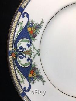(12) Royal Worcester #C2100'BLUE CORNUCOPIA' 10.5 DINNER PLATES Raised Enamel