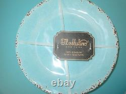 12 Set MELAMINE DINNER SALAD Plate BOWL IL MULINO Crackle Aqua Blue