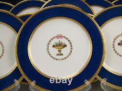 12 Spode Copeland England Cobalt Blue Raised Gold 8 Plates Set