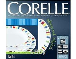 12-pc Corelle MEMPHIS DINNERWARE SET Dinner Lunch PLATES 15-oz Rimmed BOWLS New