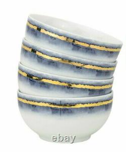 12-pc Euro Porcelain Marble Dinner Set 24K Gold Vintage Service for 4 Blue