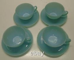 12 pc Fire King BLUE TURQUOISE Dinner Set 4 Plates and 4 Cup & Saucers Unused