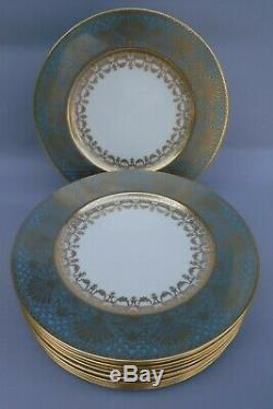 12pc Lenox Anthemion Motif Plates 1830/ E358F Gold & Teal Borders