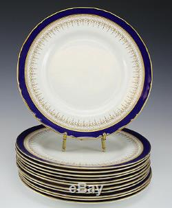12pc Royal Worcester Regency Blue Dinner Plate 10.5. Cobalt blue with gilt