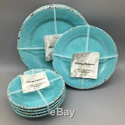 12pc Tommy Bahama Melamine 4 Dinner Salad Plate Bowl Set Turquoise Rustic Tuscan