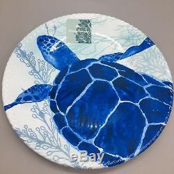 12pc Tommy Bahama Melamine Dinner Salad Plate Bowl Set Turtle Crab Ocean Blue