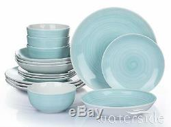 16Pc Porcelain Stoneware Dinner Set Dinnerware Complete Set Plates Bowls Aqua