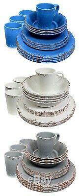 16Pcs Outdoor Dining Dinner Set Melamine Plates Bowls Cups Picnic Beach Crockery