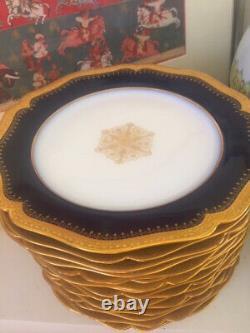 16 Limoges Plates Cobalt Blue and Gold Porcelain with Gold Medallion. Rare Set