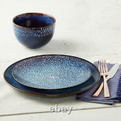 16 Piece Dinnerware Set Dinner Plate Bowl Round Service for 4 Dining Cobalt Blue