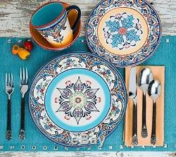 16 Piece Elegant Spanish Dinnerware Set Floral Ceramic Earthenware Dishes Plates