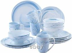 16-Piece Porcelain Dinner Set Dining Plates Dessert Plate Cereal Bowls Mugs Blue