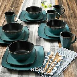 16 Piece Stoneware Dinnerware Set Dinner Dish Square Plates Home Service For 4