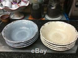 16 Pier One Imports Melamine Carmelo Cream & Blue Distressed Dishes Beautiful