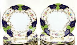 18 Coalport England Hand Painted Porcelain Scalloped Dinner Plates, circa 1900