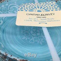 18pc Cynthia Rowley Teal Melamine 6 Dinner Salad Plate Bowl Set Rustic Medallion