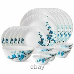 19 Pcs Larah by Borosil Mimosa Opalware Dinner Service Set Plates Bowl Blue