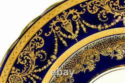 1-5 Stunning Aynsley Cobalt Blue & Gold Floral 10.5 Cabinet Dinner Plate(s) 7959