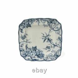 222 Fifth 16-Piece Blue and Whit Scalloped Porcelain Adelaide Dinnerware Set