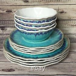 222 Fifth SEA SPLASH 12pc Turquoise MELAMINE Dinnerware Set