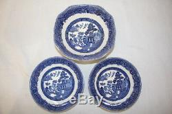 23pc Vintage Johnson Brothers WILLOW BLUE Dinner Salad Bread Plates & Bowls Set