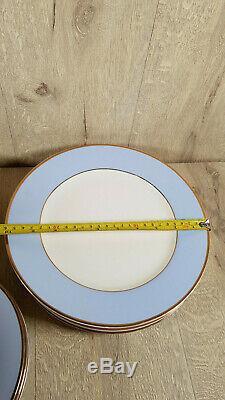 25pcs Doulton Service Dish Set Dinner Plate Cap Saucepan Soup Bowl Blue Gold