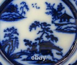 (2) Antique Staffordshire Flow Blue Hong Kong Ironstone 10 3/8 Dinner Plates