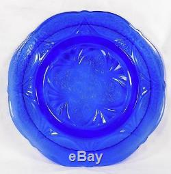 2 Blue Royal Lace Dinner Plates Hazel Atlas Depression Glass Vintage Good