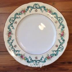2 Coalport Dinner Plates Blue Ribbons Pattern 8851 10-1/2