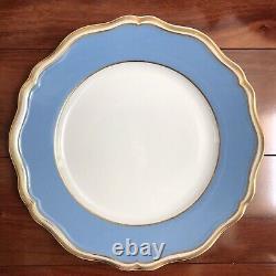 2 RAYNAUD POLKA BLUE DINNER PLATES 10-3/4 PORCELAIN LIMOGES (Ceralene) Exc Cond