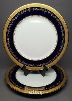 2 x Aynsley GEORGIAN COBALT SMOOTH 10 5/8 Dinner Plate Bone China 7348 READ #1