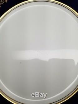 2 x Aynsley GEORGIAN COBALT SMOOTH 10 5/8 Dinner Plate Bone China 7348 READ #4