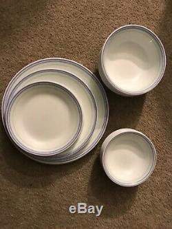 30 Corelle Moonglow Pieces Dinner Plates Soup Bowls Purple Green Blue Stripe